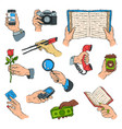 sketch hands holdings objects and showing items vector image vector image