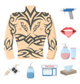 tattoo drawing on the body cartoon icons in set vector image vector image