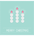 Three merry Christmas candles button applique vector image