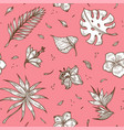 tropical plants sketches on pink backdrop in vector image