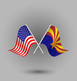 two crossed american and flag of arizona vector image vector image