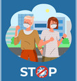 two women in medical masks at city background vector image