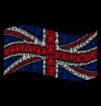 waving great britain flag collage of wide brush vector image