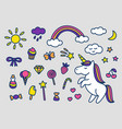 set of cute magic stickers vector image