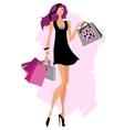 Woman shopping bags vector image
