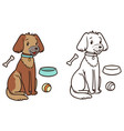 a friendly dog with a collar is sitting contour vector image