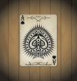 Ace of spades poker cards old look varnished wood