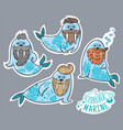 animals patch collection of hipster walruses with vector image vector image