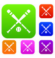 baseball bat and ball set collection vector image vector image