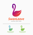 Beautiful minimal swan logo vector image vector image