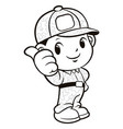 black and white soldier mascot thumb gesture vector image vector image