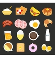 Breakfast Icon Set in Modern Flat Style vector image vector image