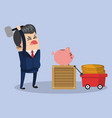 businessman broken piggy savings vector image