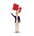 canadian flag waving man vector image vector image