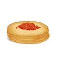 caviar on hot pancake food 3d realistic decoration vector image