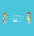 children day web banner with playful kids girls vector image