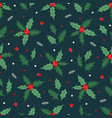christmas seamless pattern with berries holly vector image