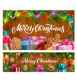 christmas tree with xmas gifts candies and sock vector image vector image