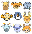 collection stock animal head funny doodle style vector image vector image