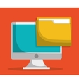 computer and file folder icon image vector image vector image