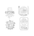 creative catering service logos in sketch style vector image vector image