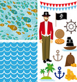 Cute pirate objects collection seamless background vector image vector image