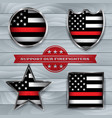 firefighter support flag badge vector image vector image