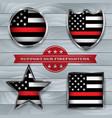 firefighter support flag badge vector image