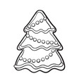 glazed homemade christmas tree gingerbread cookie vector image