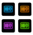 glowing neon address book icon isolated on white vector image vector image