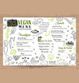 green organic food vegan restaurant menu board or vector image