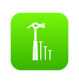 hammer and nails icon digital green vector image
