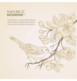 Hand drawn bird on sacura branch vector image vector image