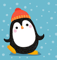 hand drawn cute penguin wearing red hat vector image vector image