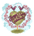 happy valentines day greeting card bird love card vector image vector image