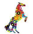 horse on its hind legs with a colored floral vector image