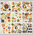international cuisine menu food and cooking dishes vector image vector image
