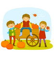 kids in a pumpkin patch vector image vector image
