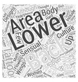 Lower Back Tattoos Word Cloud Concept vector image vector image