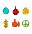 medallion icon set color outline style vector image vector image