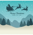 Merry christmas and happy new year silhouette vector image