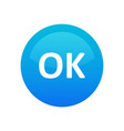 okay icon - round symbol blue color isolated on vector image