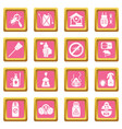 pest control tools icons set pink square vector image vector image
