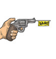 pistol with white flag engraving vector image vector image