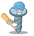 playing baseball screw character cartoon style vector image vector image