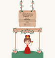 princess with wooden label invitation card vector image vector image
