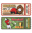 retro tickets for baseball sport game vector image