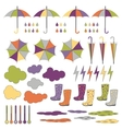Rubber boots umbrellas rain set vector image