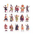 set mix race people in different costumes standing vector image vector image