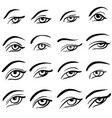 set of 16 eye designs vector image